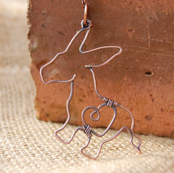 Donkey. Donkey Necklace. Copper. Wire Jewelry