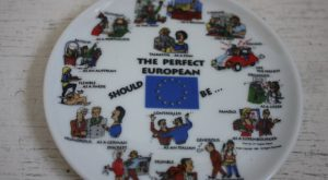 Vintage Europe Souvenir Plate, The Perfect European Should , 1988, Humorous Expressions, E...