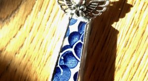 Cyber monday Blue willow angel necklace vintage hand crafted pendant your choice of one