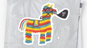 'Let's Hit It! Funny colorful piñata donkey ' Sticker by shoshannahscribbles #p...