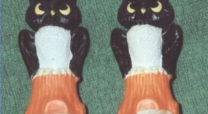 Vintage Pair Gurley Owls Halloween Candles 1950's