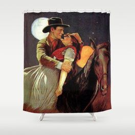 Vintage Western Romantic Cowboy And Cowgirl On Horse Shower Curtain