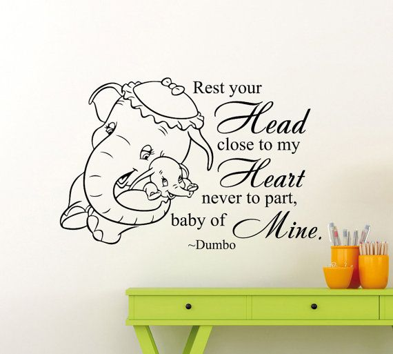 Dumbo Elephant Quote Wall Decal Disney Cartoon by AwesomezzDesigns