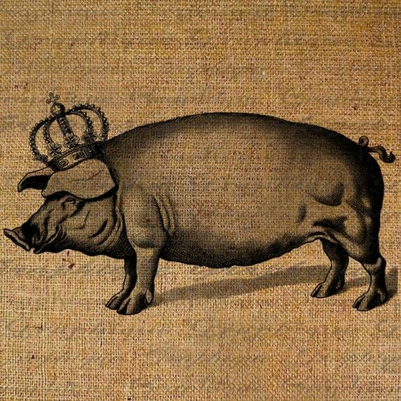 Pig Crown Royal Queen Big Piggy Hog Farm Animal by Graphique