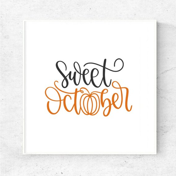 sweet october printable, october art download, fall printable, welcome fall printable, pum...