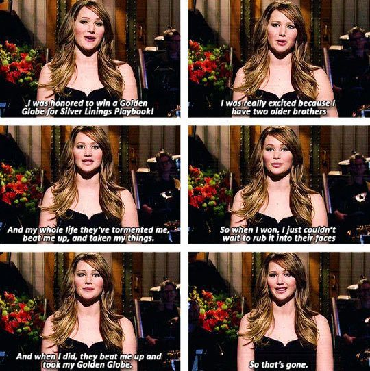 Jennifer Lawrence on winning the Golden Globe // funny pictures – funny photos -…