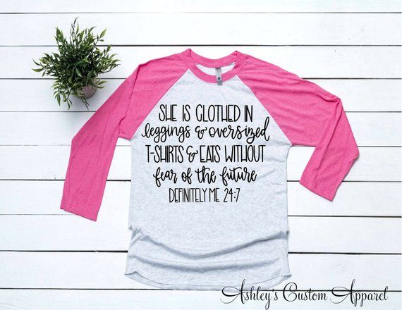 Funny Sarcastic Shirts With Sayings She Is Clothed In Leggings & Eats Without Fear…