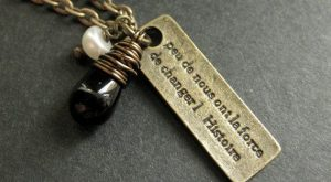Kennedy Quote Necklace. French Necklace with Wire Wrapped Black Teardrop and Fresh Water P...
