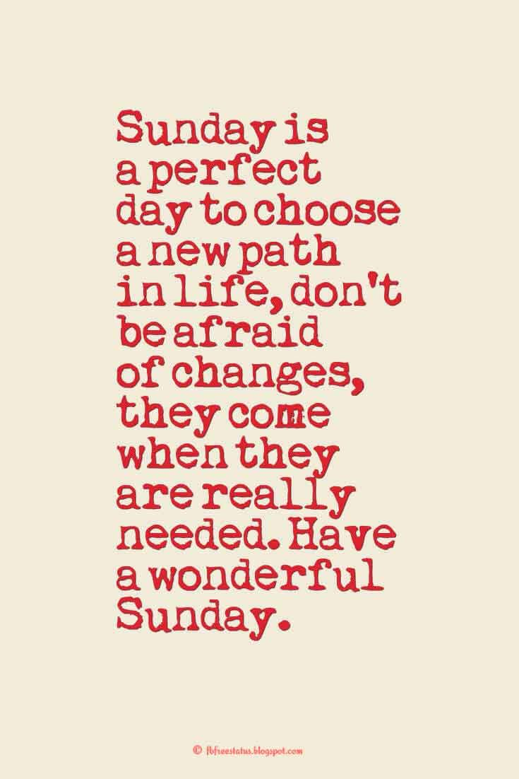 Sunday is a perfect day to choose a new path in life, don't be…