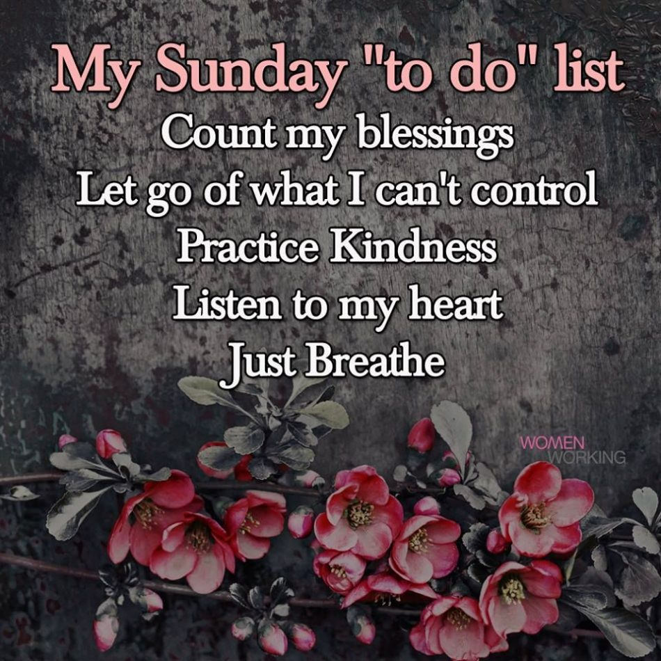 "My Sunday ""To Do"" List"