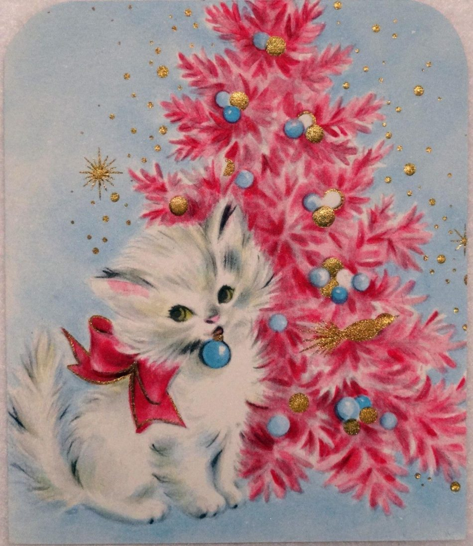 1107 50s Sweet Kitty CAT BY THE Pink Tree Vintage Christmas Greeting Card |…