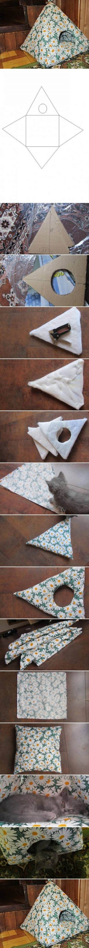 I found a cute idea for cat lovers, how to make a cat tent…