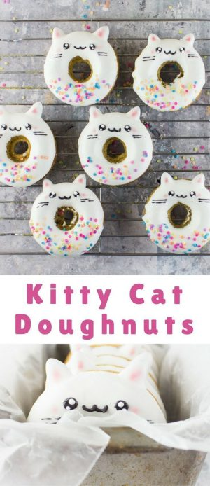 These sweet kitty cat doughnuts are perfect for a cat themed birthday party #catbirthdaypartyideas…